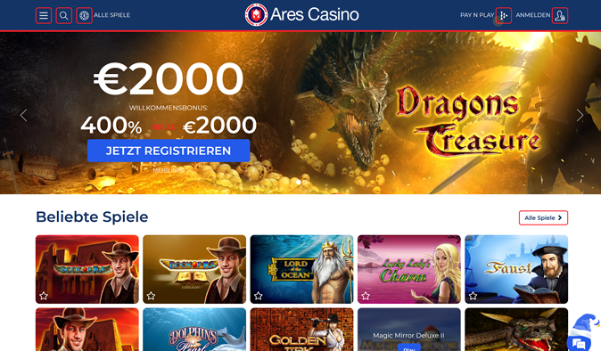 Ares Casino Screenshot